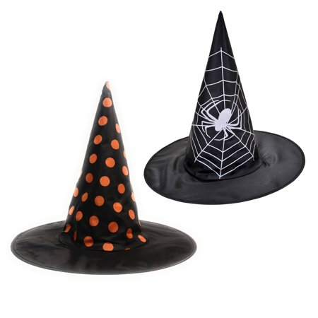 Halloween Spider Web & Polka Dot Witch 12pc Costume Hat, Black, One-Size 15