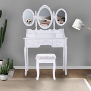 Jaxpety Dressing Vanity Table 3 Mirror w/7 Drawer Makeup Desk Vanity Set White Oval Mirror Makeup Dresser