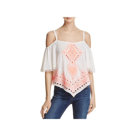 Freeway Womens Embroidered Open Back Casual Top