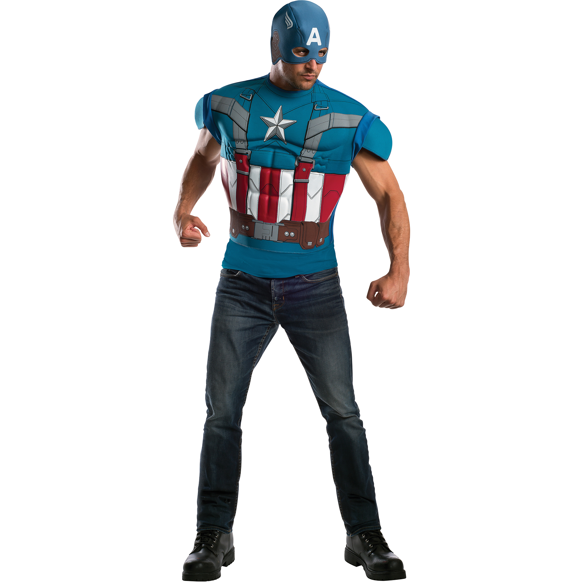 Retro Captain America Muscle Adult Halloween Costume
