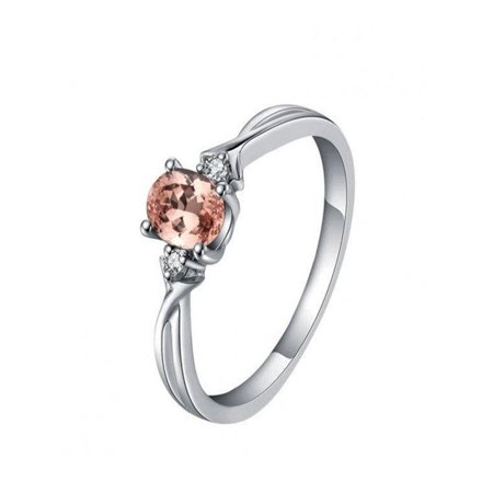 198612d94d97e JeenJewels - Three Stone Trilogy 1 Carat Morganite and Diamond Engagement  Ring in 14k White Gold morganite and diamond engagement ring - Walmart.com