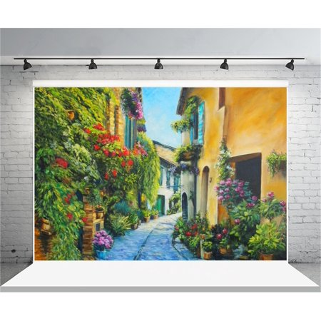 HelloDecor Polyster 7x5ft Italy Flower Street Backdrop Photography Background Oil Painting Small Town Vintage Alley Girl Adult Lovers Artistic Portrait Photo Shoot Studio Props Video Drop