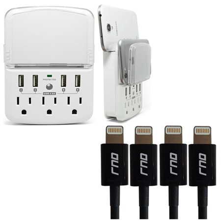 RND Wall Power Station includes 3 AC Plugs and 4 USB ports (4.8A total) with Surge Protection and a slide-out holder and shelf (4-pack 3.2FT Apple Certified Black Lightning Cables included)