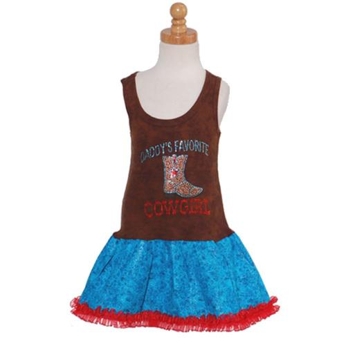 Brown Turquoise Rhinestone Cowgirl Tank Dress Baby Toddler Girls 6M-4T