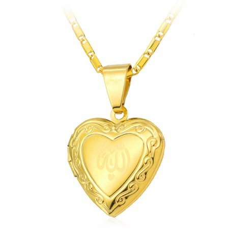 AkoaDa Heart Allah Pendant Jewelry For Women 24K Gold Plated Muslim Heart Allah Open Heart Pendant Necklace With Chain (Best Zikr Of Allah)