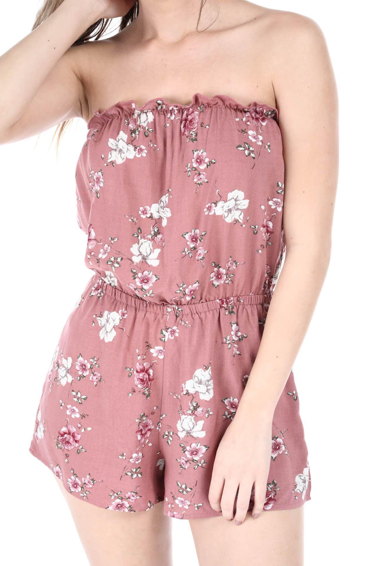 0d77529c87b Heart   Hips - Salt Tree Women s Floral Print Strapless Linen Romper -  Walmart.com