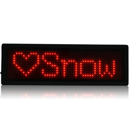 LED Badge Digital Scrolling Message Name Sign Display Rechargeable US plug Red