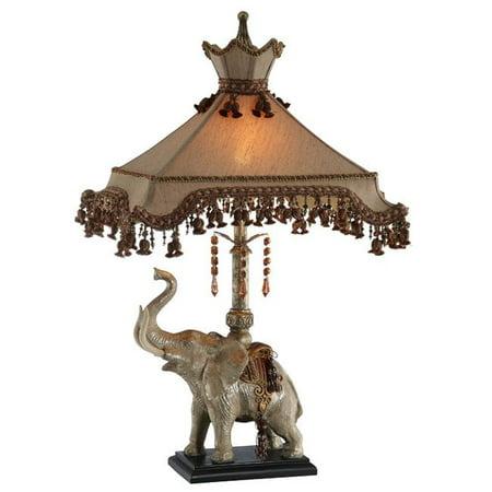 Amita Trading Inc. Elephant Lamp with Beaded Shade ()