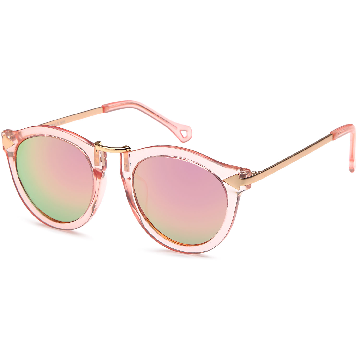 b7e120c5c2971 CATWALK - CATWALK UV400 Womens Round Cat Eye Sunglasses with Arrow Design  Metal Fashion Frame and Flash Lens Option - Mirror Blue Lens on Black Gold  Frame ...