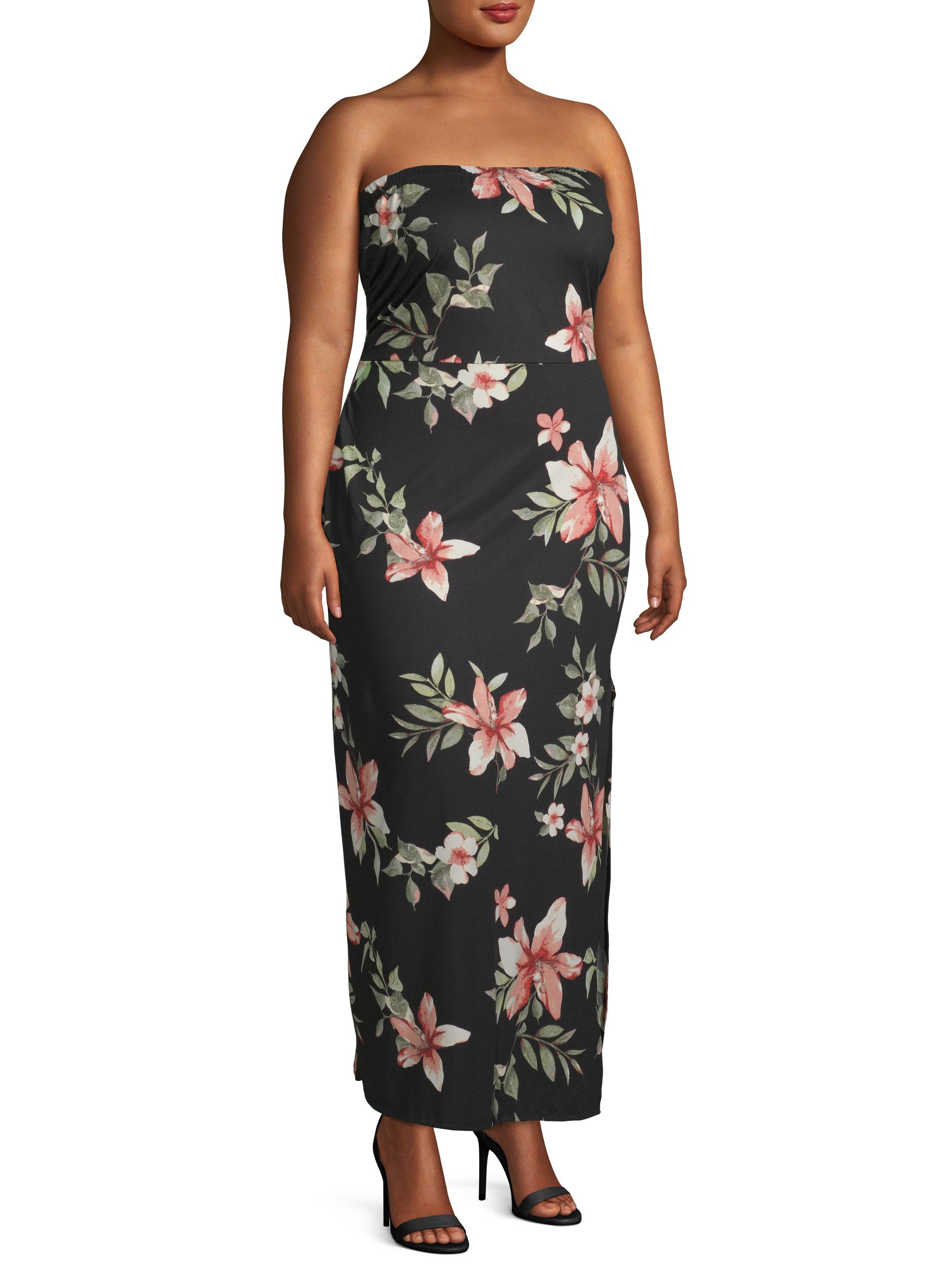Juniors\' Plus Size Tube Top Maxi Dress