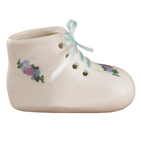 "Porcelain Baby Bootie Heirloom – Blue Boy - Ceramic Baby Shoe Keepsake – Birth, Baptism or Christening Gift - 4"" Long by 2"" Wide Booties Porcelain Keepsake"