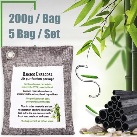 Moaere 5Pcs 200g Air Purifying Bag Bamboo Charcoal Freshener Deodorizer Odor Eliminator Absorber with 5Pcs Hooks for Cars and Closets