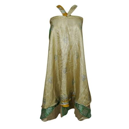 Mogul Womens Beige Printed Wrap Around Skirt Two Layer Reversible Gypsy Fall Fashion Magic Long Skirts