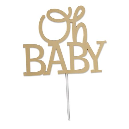 Gold Oh Baby Cake Topper - Rockstar Cake Toppers