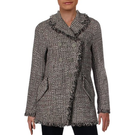 Nic + Zoe Womens Up to Date Tweed Collarless Peplum Jacket
