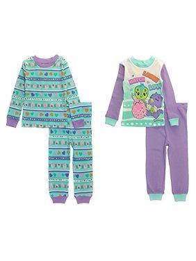 Hatchimals Girls' Character's 4-Pc Pajama Sleep Set, Purple/Blue, 6X