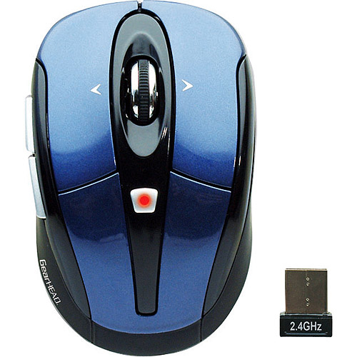 Gear Head Wireless Optical Tilt-Wheel Mouse, Blue