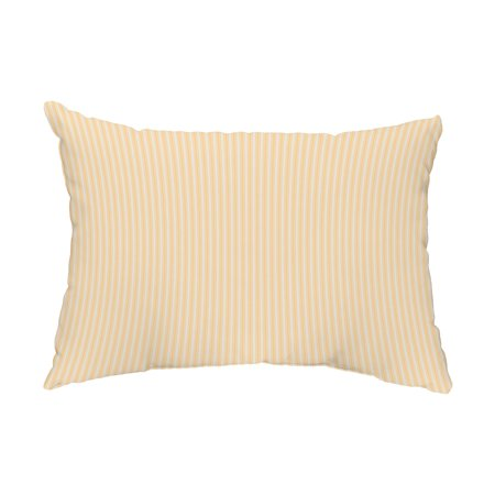 Yellow Striped Pillow - Ticking Stripe 14x20 inch Yellow Decorative Stripe Outdoor Pillow