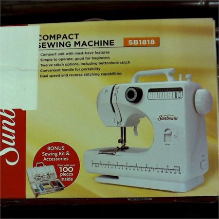 Refurbished Sunbeam SB1818 Easy-to-Use Everyday Compact Sewing Machine Over 100 Piece Of All Basic Sewing Kit Included, 18 stitches