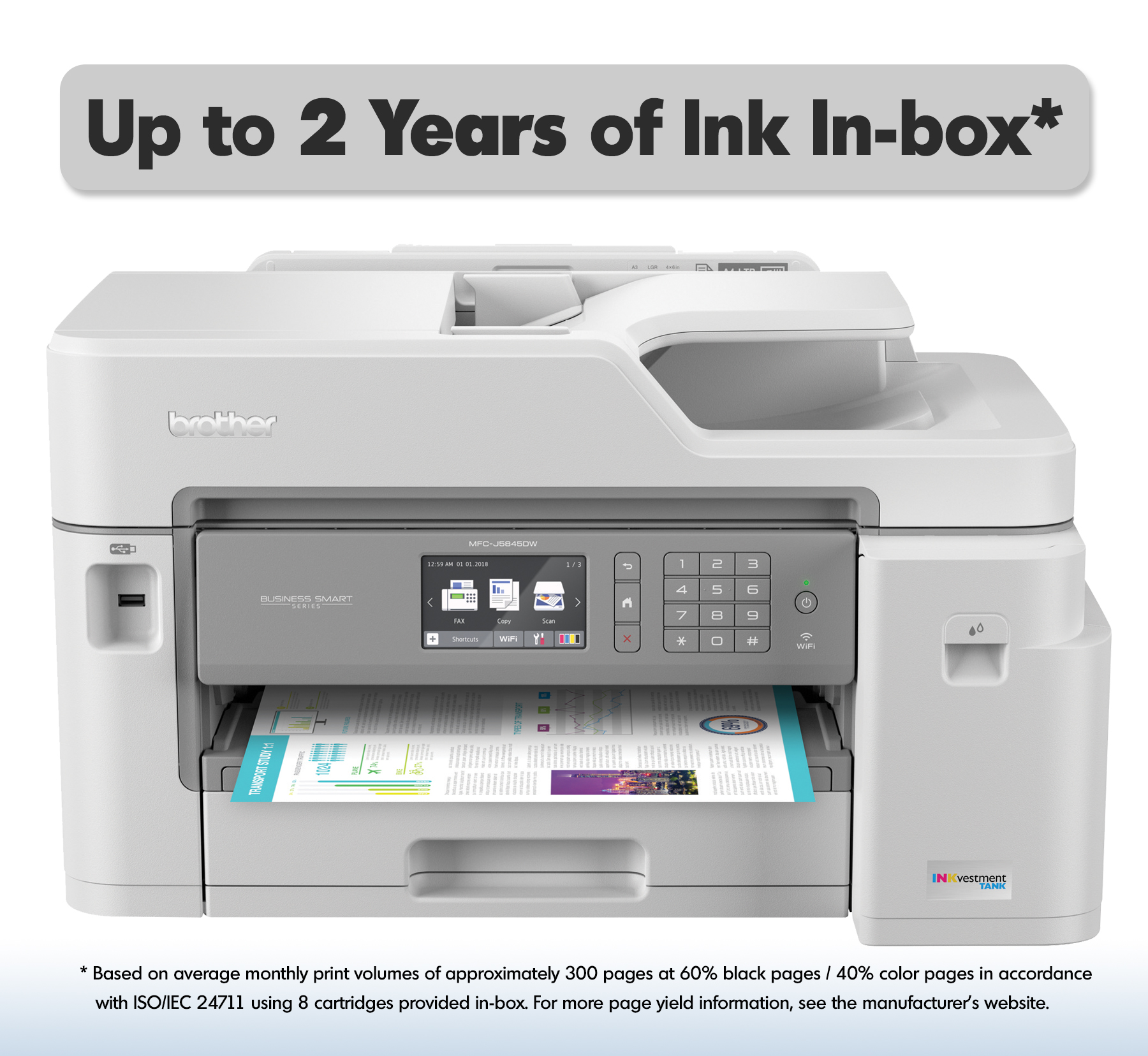 Brother MFC-J5845DW XL Extended Print INKvestment Tank Color Inkjet All-in-One Wireless Printer with Up to 2-Years of Ink In-box