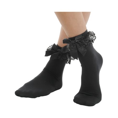 Anklet Socks Ruffled Bow 4 Color Options Red Pink Black or White (White Knee High Socks With Red Bows)