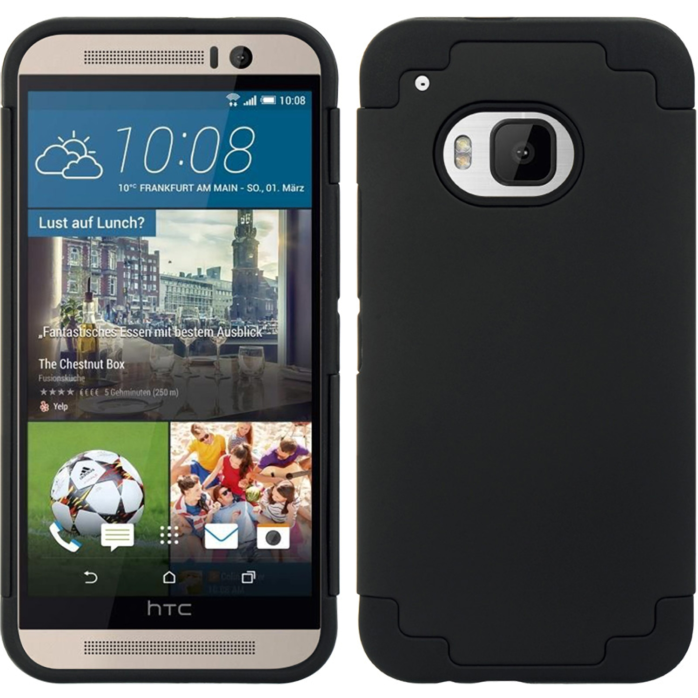 HTC M9 Hybrid Case Blue Skin Hot Pink Rubber Pc