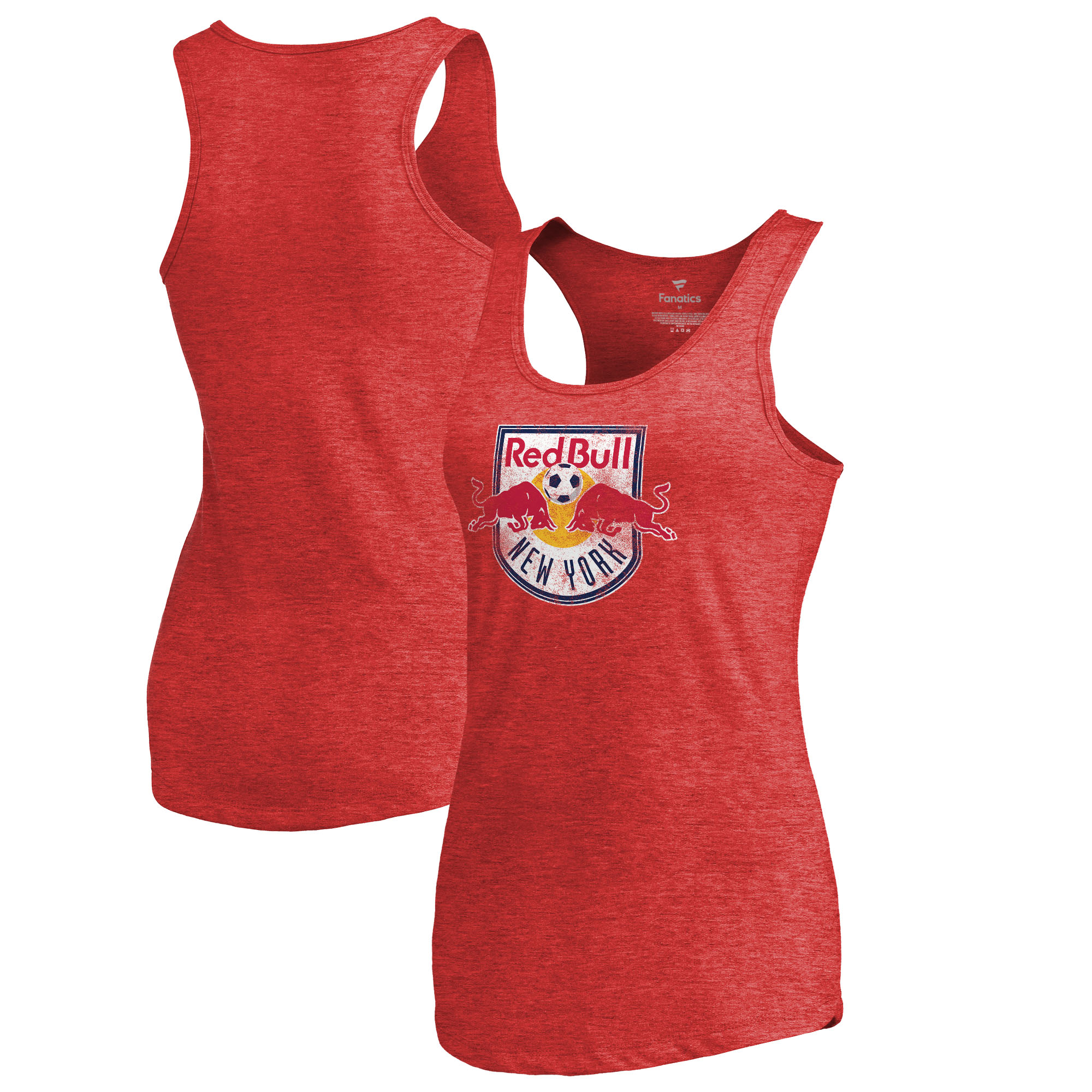 New York Red Bulls Fanatics Branded Women's Distressed Primary Logo Tri-Blend Tank Top - Red