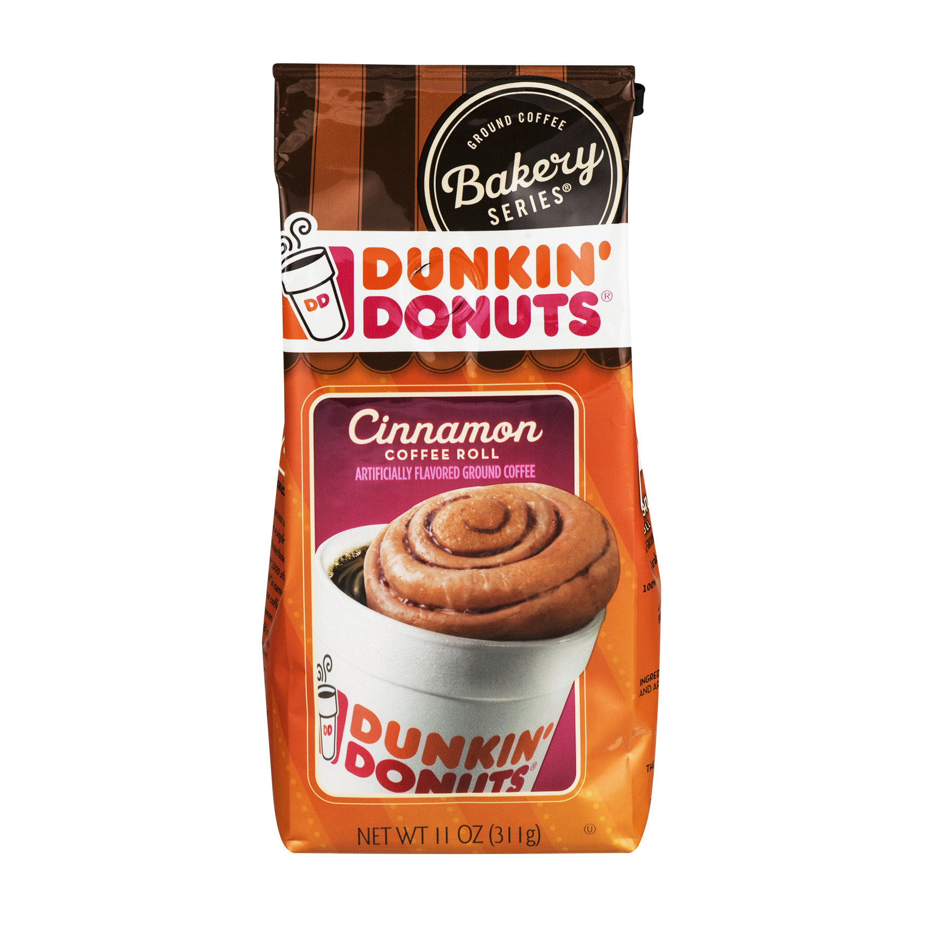 Dunkin' Donuts Cinnamon Coffee Roll Artificially Flavored Ground Coffee, 11 oz