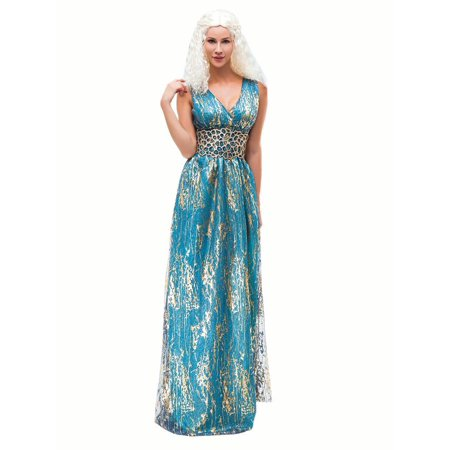 Halloween Costumes Anime Cosplay (Game of Thrones Daenerys Targaryen Costume Long Blue Dress for Cosplay Halloween)