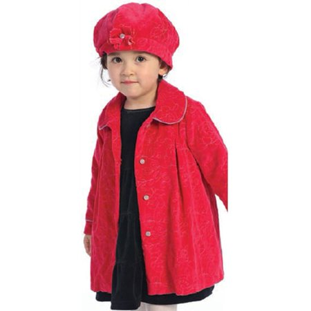 Angles Garment Toddler Girls Size 2T Red Floral Swing Coat Hat Set