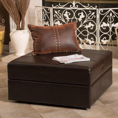 Christopher Knight Home Burlington Brown Bonded Leather Storage Ottoman by - Christopher Knight Home Burlington Brown Bonded Leather Storage