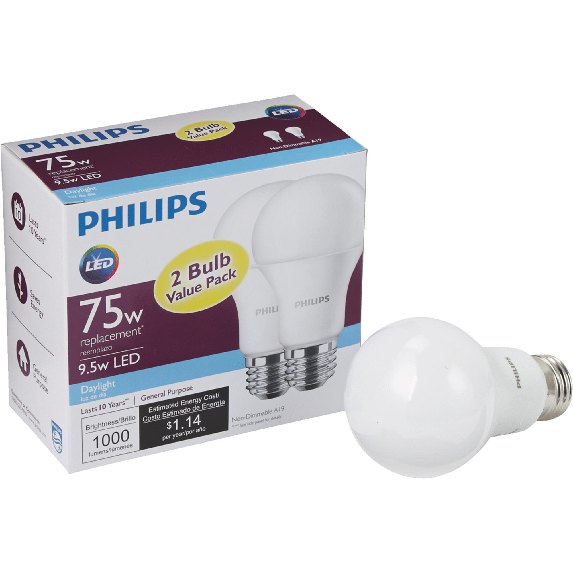 Philips LED 9.5W (75 Watt Equivalent) Daylight Standard A19 Light Bulb, 2 CT