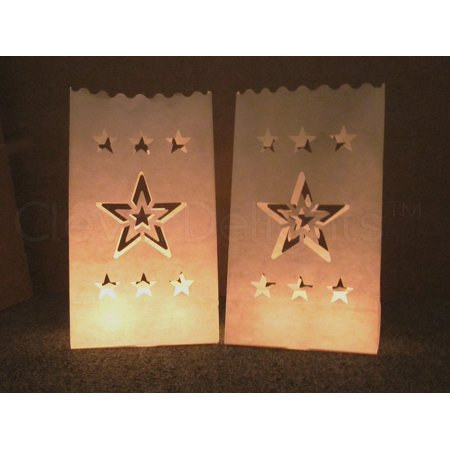 Luminaria Bags (CleverDelights White Luminary Bags - 20 Count - Star Design - Flame Resistant Paper - Wedding, Reception, Party and Event Decor - Luminaria Candle)