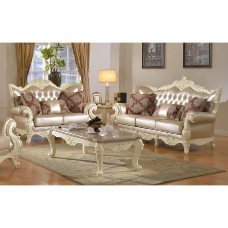 formal classic traditional 2pcs sofa set top quality bonded leather sofa loveseat pearl white finish. Interior Design Ideas. Home Design Ideas