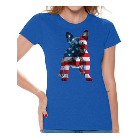 Awkward Styles Women's USA Flag French Bulldog Cute Graphic T-shirt Tops 4th Of July Party Pet Lover (Cute Fourth Of July Shirts)