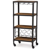 Baxton Studio Swanson Rustic Industrial-Style Antique Black Textured Finish Metal Distressed Wood Mobile Kitchen Bar Wine Storage Shelf