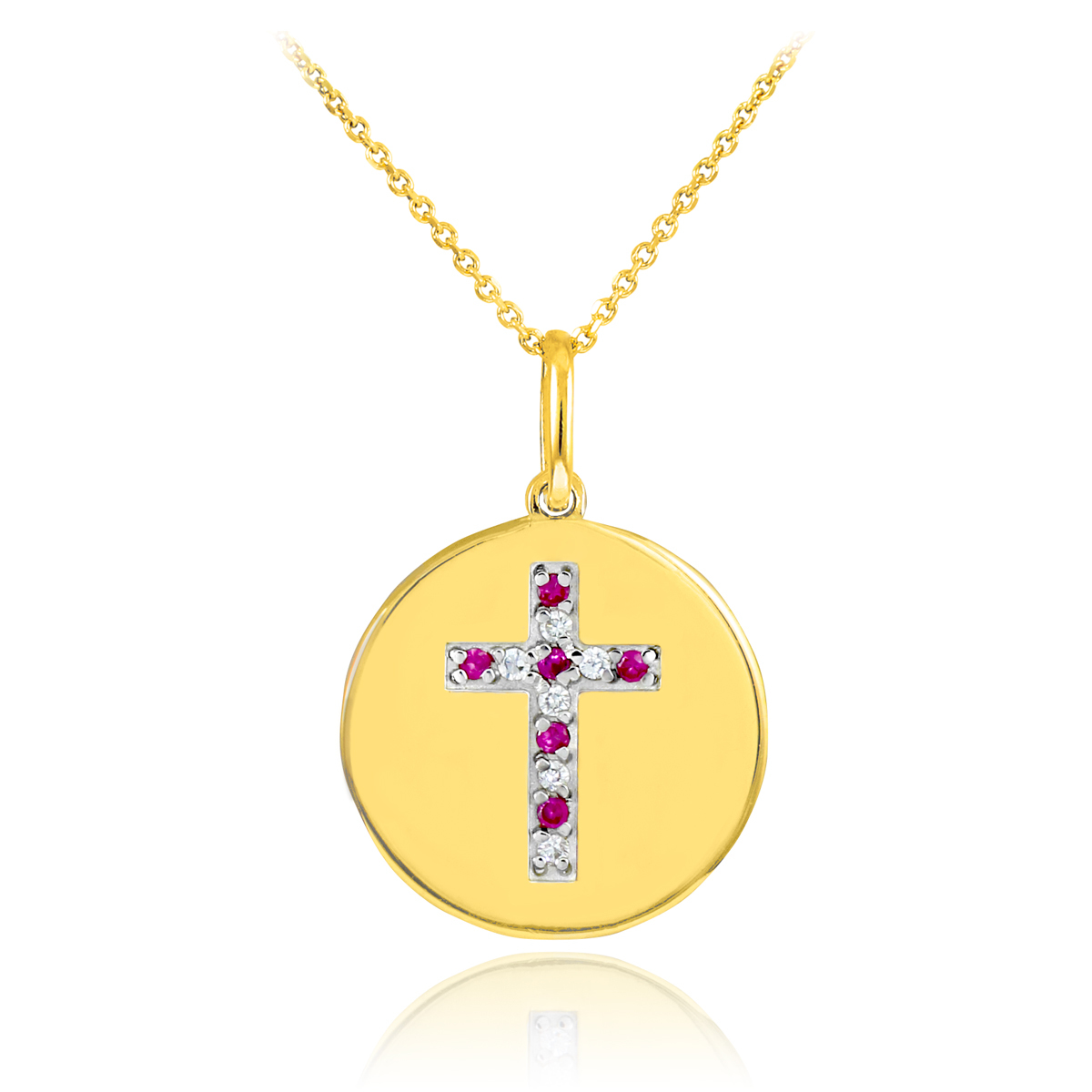 14K Gold Cross Diamond and Ruby Disc Pendant Necklace by