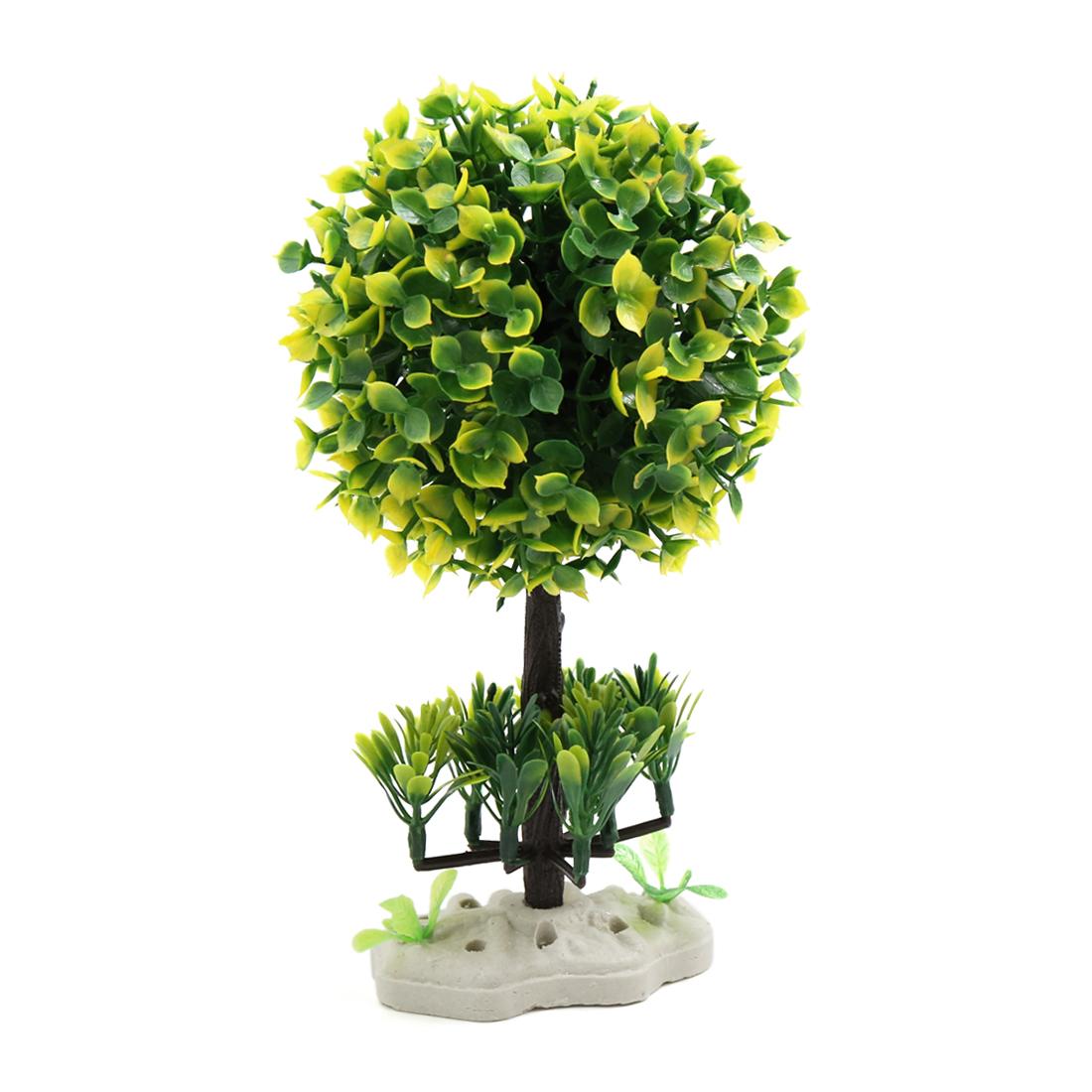 Yellow Green Plastic Leaves Tree Aquarium Landscape Decor Plant Ornament w Stand