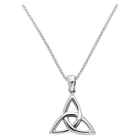 Sterling Silver Celtic Triquetra Trinity Knot Pendant on 18 Inch Box Chain Necklace