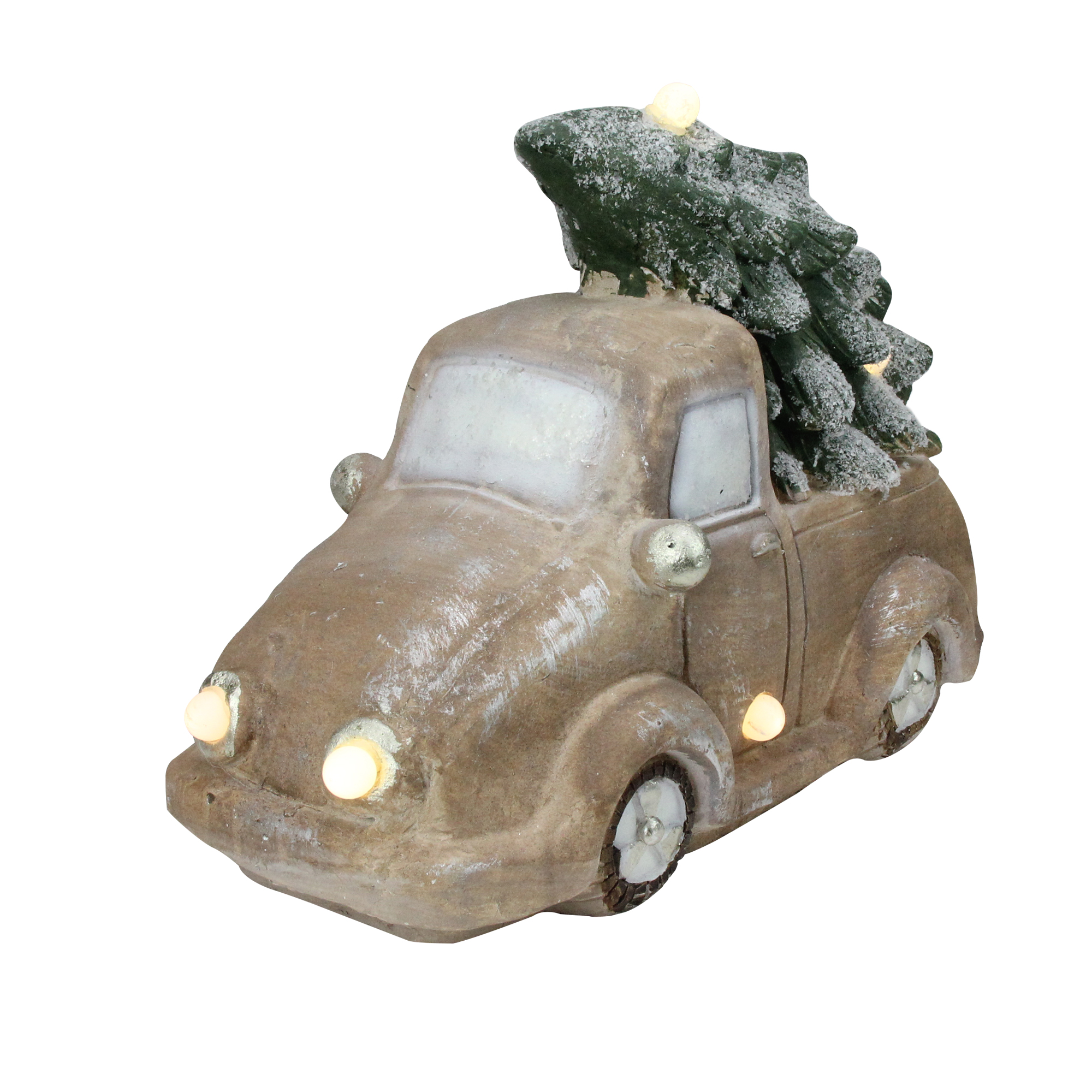 "15.5"" Lighted and Musical Vintage Truck with Christmas Tree Table Top Decoration"