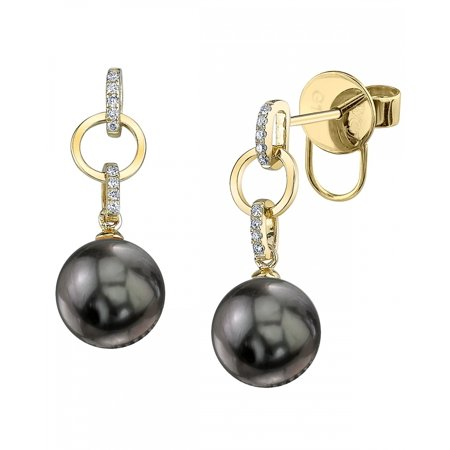 14K Gold Tahitian South Sea Cultured Pearl & Diamond Holly Earrings ()