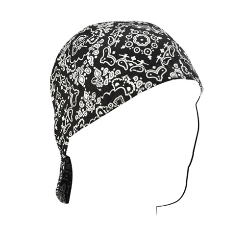 WELDERS CAP, COTTON, BLACK PAISLEY, SIZE 7.25