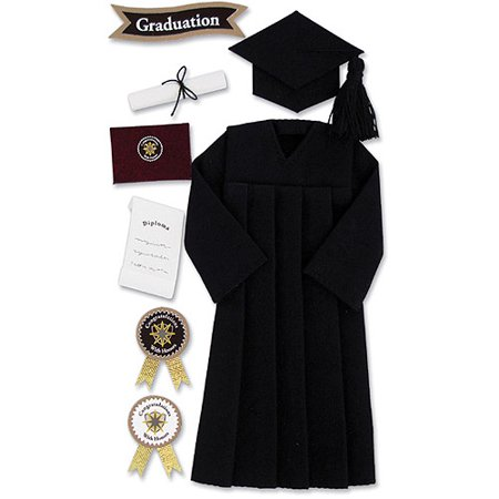 Jolee's Seasonal Stickers, Black Graduation Cap and Gown - Walmart.com