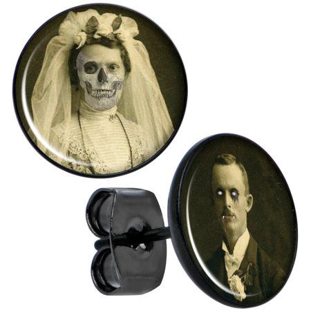 Body Candy Black Anodized Steel Skeleton Bride and Vampire Groom Halloween Stud Earrings (Halloween Bride And Groom Costumes)