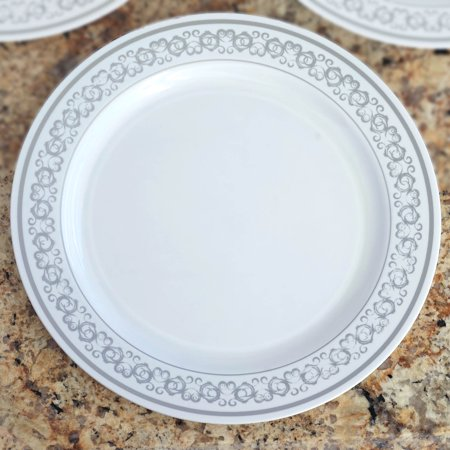 Efavormart 50 Pcs  - White with Silver Round Disposable Plastic Plate Dinner Plates for Wedding Party Banquet - Premiere Collection - White Plastic Plates