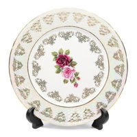 "Royalty Porcelain Set of 6 ""Floral Rose"" Salad Plates, 24K Gold Bone"
