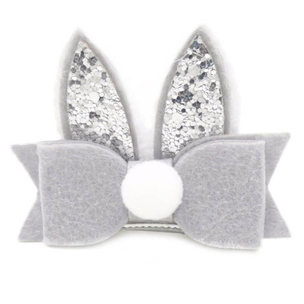 Outtop Baby Girls Toddler Kids PomPom Sequined Rabbit Ear Hair Clip Bow Hairpin Barrett