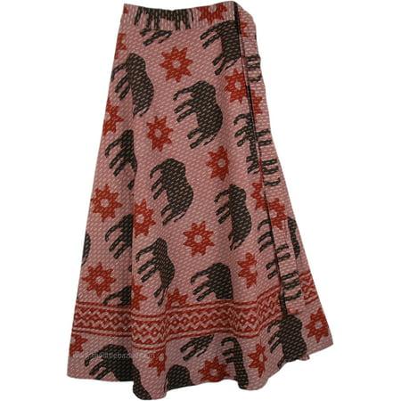 Elephants and Sunbursts Wrap Around Skirt