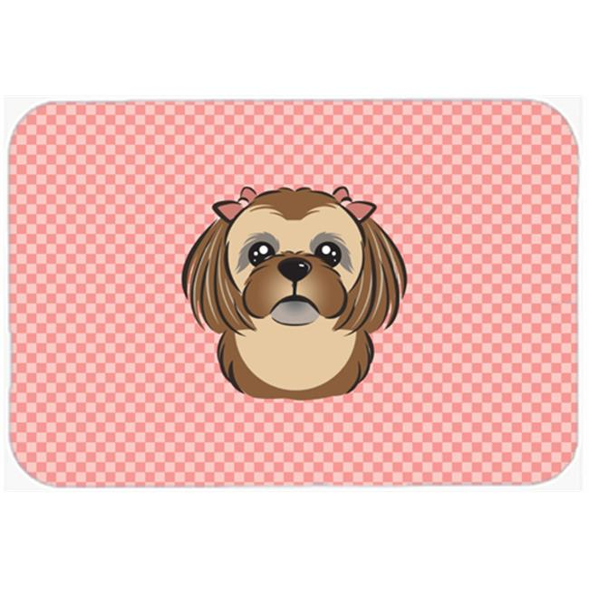 Checkerboard Pink Chocolate Brown Shih Tzu Mouse Pad, Hot Pad Or Trivet, 7.75 x 9.25 In.
