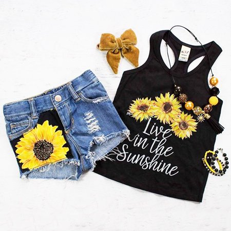 2PCS Toddler Baby Kids Girl Summer Clothes Live in The Sunshine Sunflower Vest Tank Tops+Denim Short Pants Outfit Set 1-2 Years
